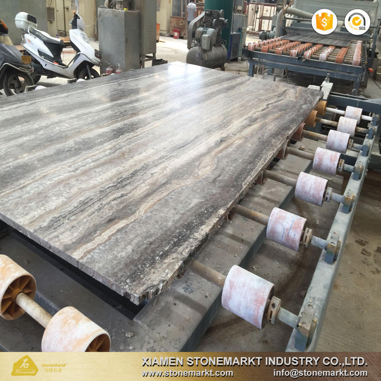 StoneMarkt silver grey travertine stone slab
