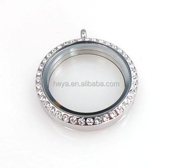 High Quality Stainless Steel Round floating Glass Lockets with stone Silver Locket 30mm