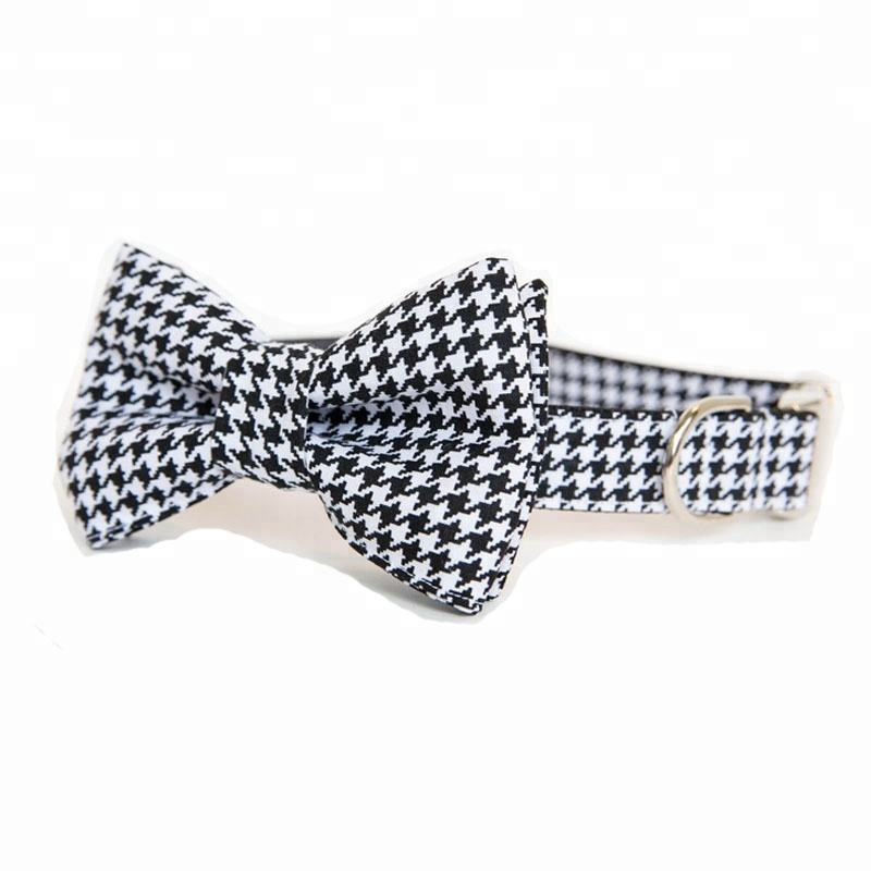 Free Sample Colorful Soft Fashion Small Dog Collar With Bowtie