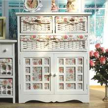 Bedroom small wood drawer storage cabinet rural receive wardrobe Iron chest solid wood antique European beside table