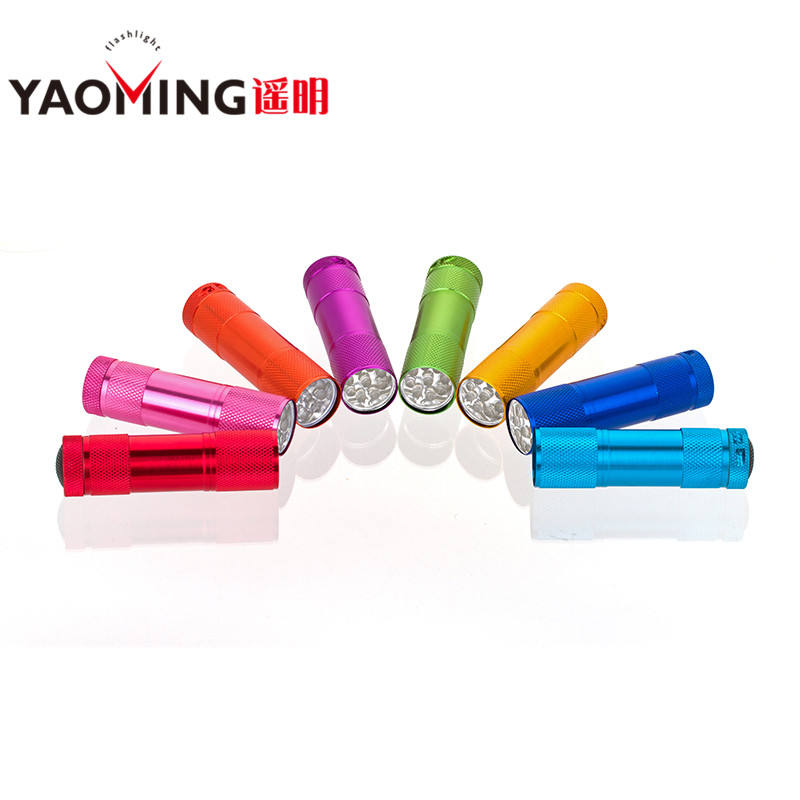 Manufacturer cheapmini 9 led flashlight promotional gift torch with AAA battery,led flashlight