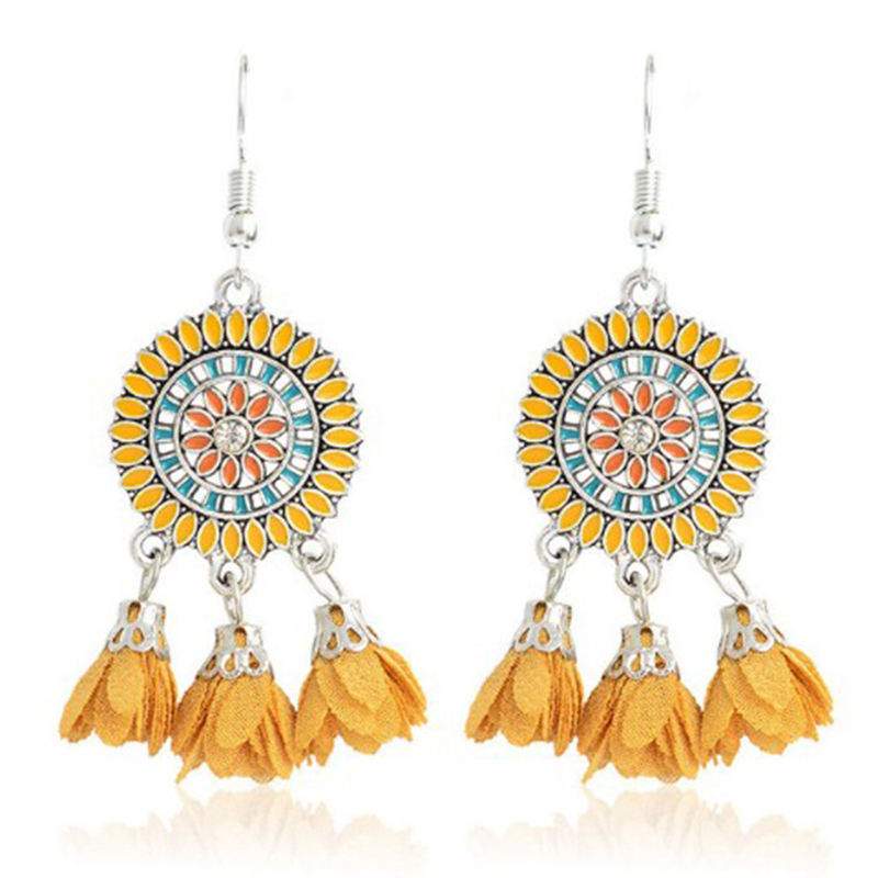 Qihe Sweety Bijoux Colorful Kelopak Fringe Alloy <span class=keywords><strong>Telinga</strong></span> Bulat Besar Anting-Anting Elegan Kain Bunga Drop Anting-Anting