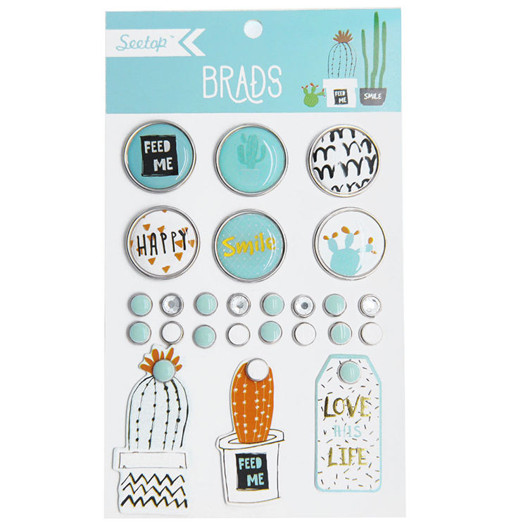 Decorative custom mini metal scrapbook brads