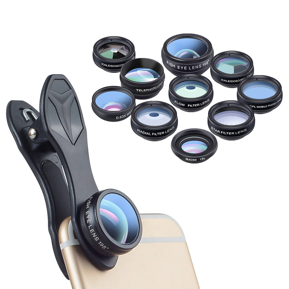 Produk Trending 2020 Amazon Mobile Lens Cell Phone Eksternal 10 In1 Lens untuk Iphone