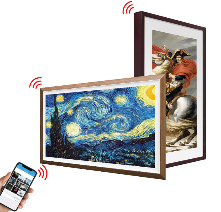 Intelligent Art Museum Hd Display Gallery Wooden Signage Artistic Design Painting Machine For Smart Digital Photo Frame