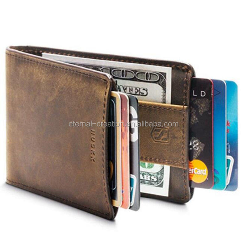 Left ID Window Wallet Customized RFID Blocking Bifold Front Thin Pocket Made from Full Grain Leather