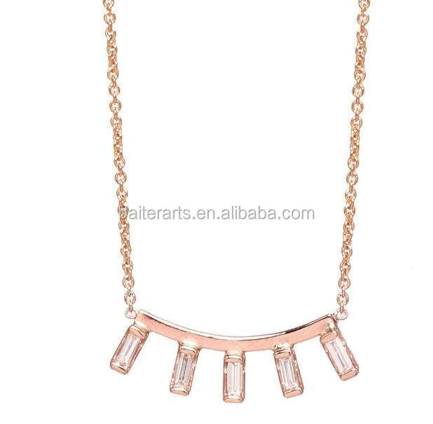 Rose Gold Plated 925 Sterling Silver Cubic Zirconia CZ Baguette Cut Diamond Curved Bar Necklace