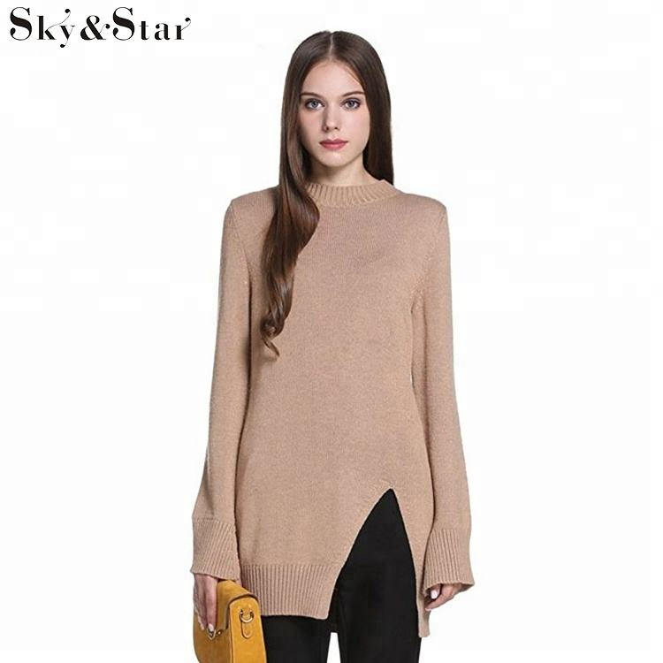 Crew neckline split hem light brown custom knit woman sweater