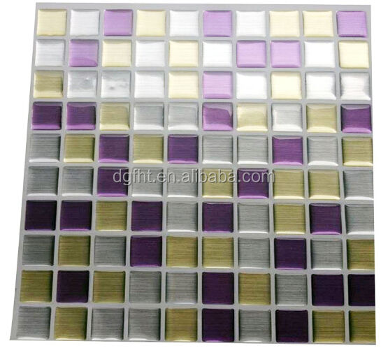 3D Gel Mosaic Effect High Quality imitate Metal Silver & Stone Brick Shape Walls Borders Mosaic Tiles Sheet