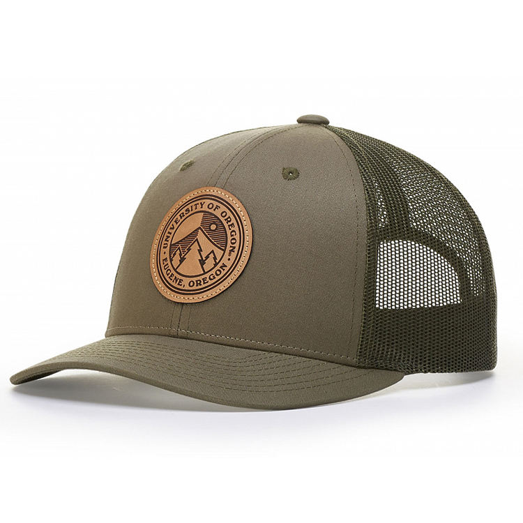 2018 leather patch trucker hats custom with patch
