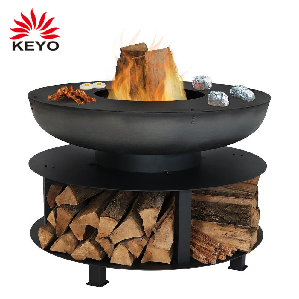 Keyo Firepit 22 Inch Hout Opslag Bbq <span class=keywords><strong>Outdoor</strong></span> Barbecue Grill Gebruikt Vuurkorf