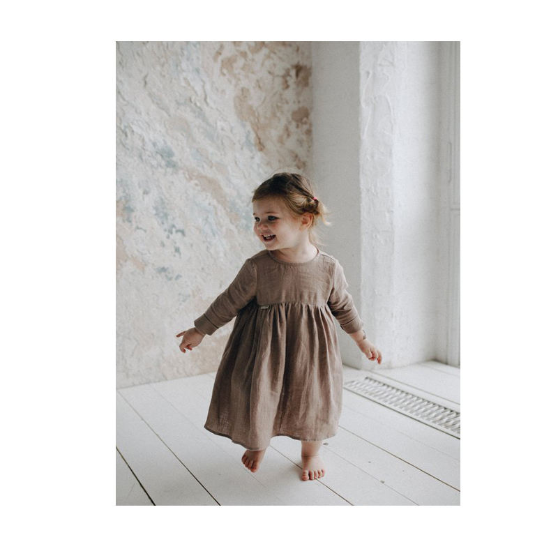 CONICE NINI new arrivals summer boutique outfits clothings baby girls Vintage linen cotton maxi dress long sleeves INS popular