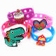 New arrival custom cartoon soft pvc rubber charm silicone wristband bracelet with charms