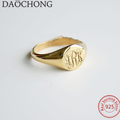 S925 Sterling Silver 18k Gold Plating Signet Jewelry Engraved Bridesmaids Ring