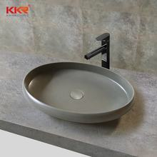 KKR solid surface artificial stone marble white and concrete color bathroom above under basin sink