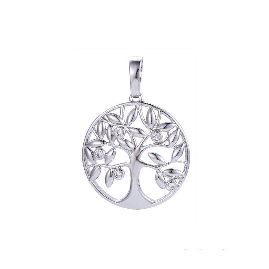 33499 unisex fashion new design white gold women pendants, bodhi tree of life crystal pendant, boutique collection jewelry