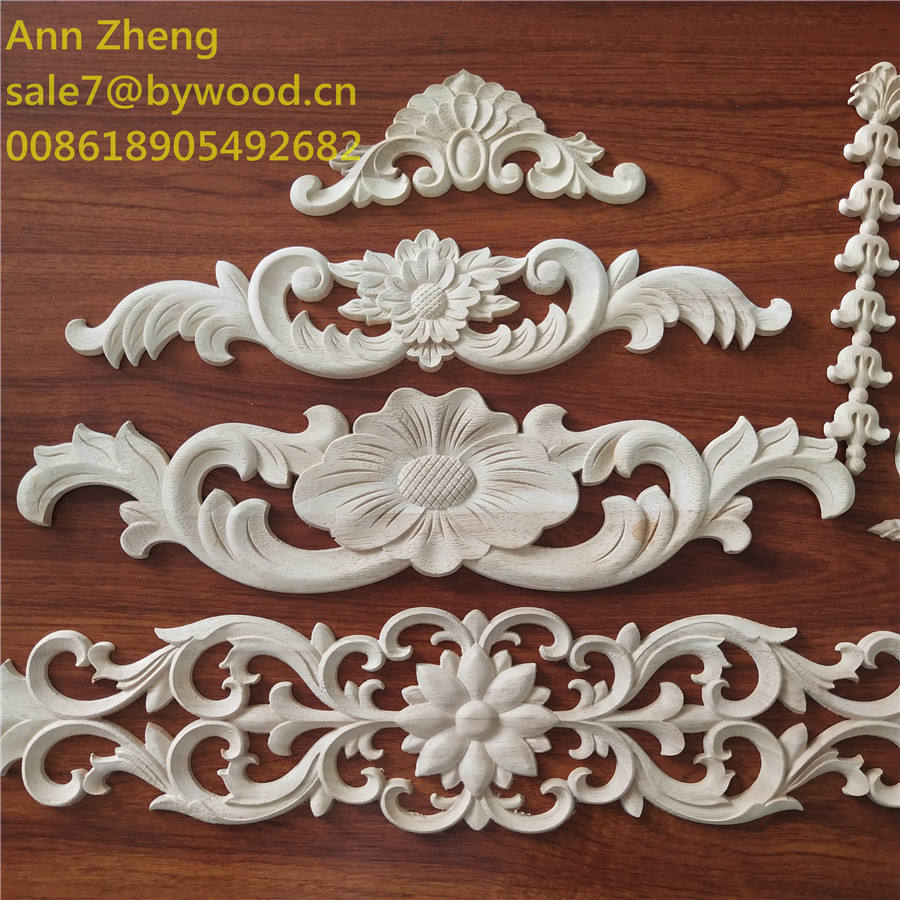 Bedhead decoration wooden flower carvings wood onlays and appliques