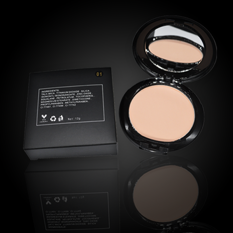 [ HD Finish duo-use pressed powder comes in a sleek,matte compact]10 shades for different complextion--Private Label Cosmetics