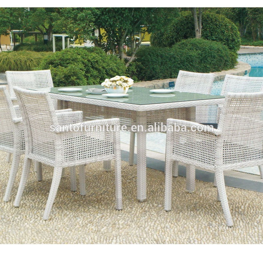 Family Garden Furniture Dining Set New Modern Outdoor Rattan Chairs And Table Wood Table Ding Set