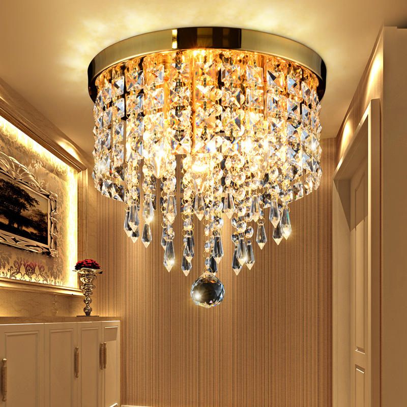 Top Quality Gold Chandelirs Luxury Surface Mounted Ceiling Light Crystal Lights for Aisle Wedding Holiday Lighting