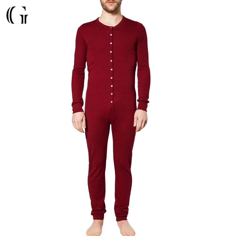 OEM Long Sleeve Adult Men Red Sexy Cotton Stretched Onesie Pajama Jumpsuit