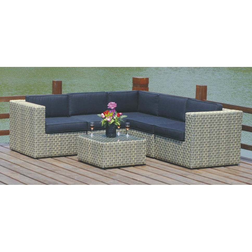 Great Reasonable Price Four Persons Rattan Modern Corner Sofa