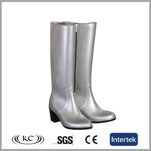 ladies clean silvery high heel wellington boots with zipper