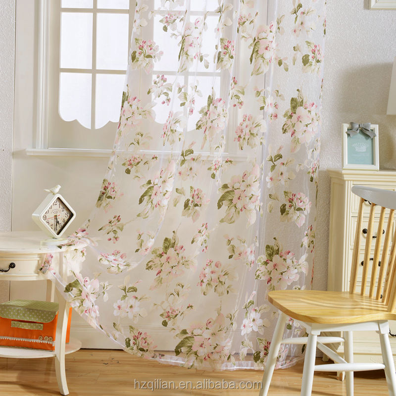 New Printed Floral Design Window Tulle Printed Sheer Curtains