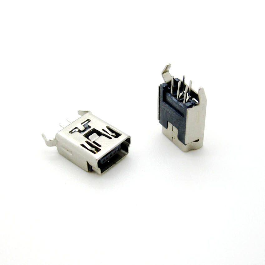 Mini USB Type B Femelle 5 Broches DIP 2 broches Jambe Verticale Prise PCB Connecteur