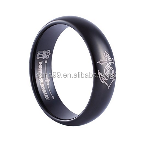Men's Ring 6mm Tungsten Wedding Ring Black Etched Anchor Wedding Band Engagement Ring