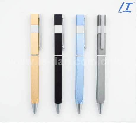 Customized logo square flat metal ballpoint pen tetragonum business gift pen