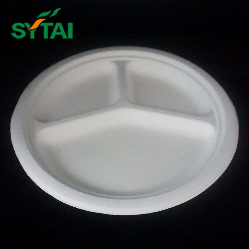 9 inch Round White Dessert Sugarcane Biodegradable Corn Starch Disposable Plate