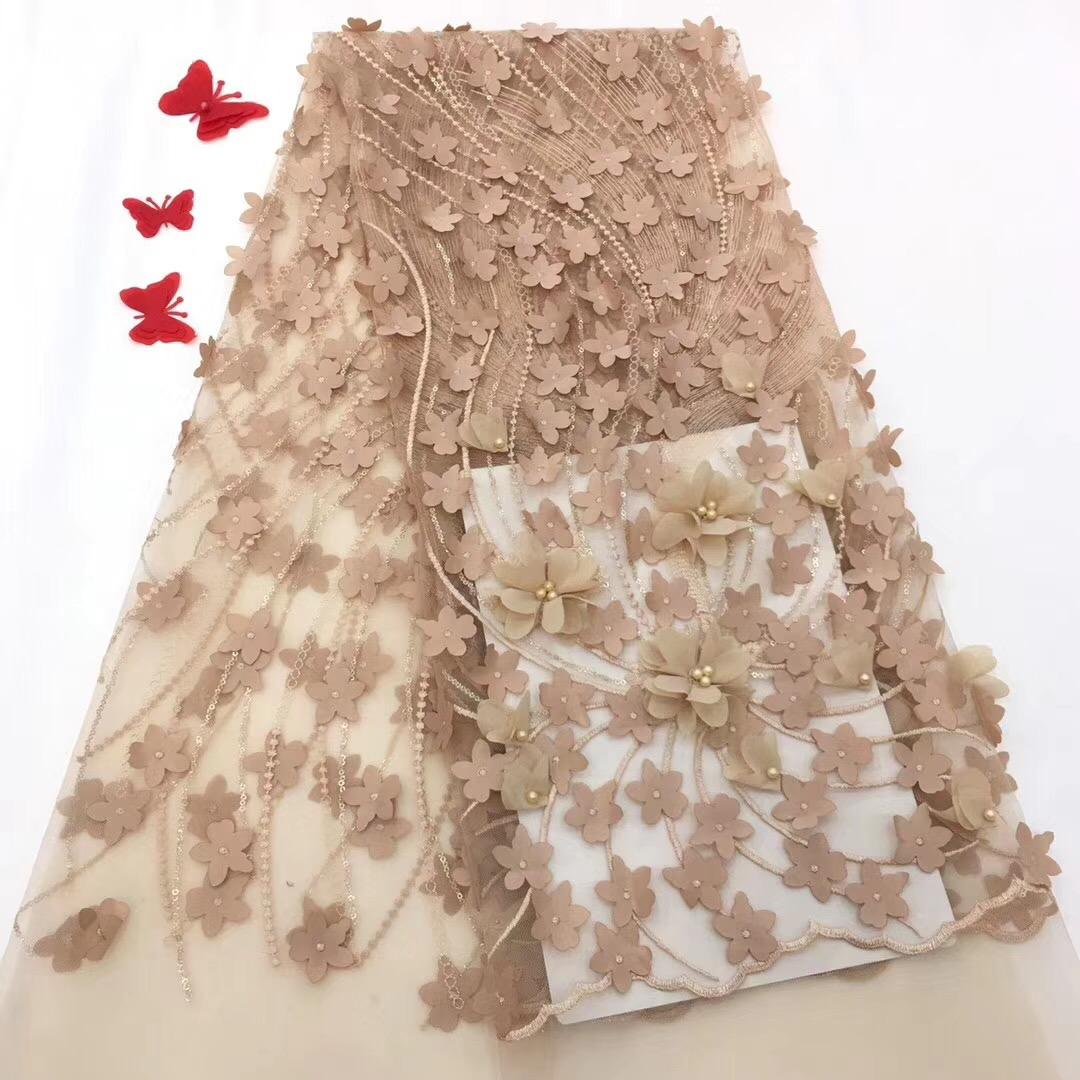 African wedding french tulle lace fabric embroidery beaded 3d flower lace dress applique fabric for party