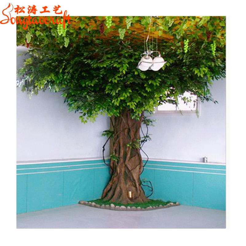 artificial greenery fiberglass ficus microcarpa trees artificial oak tree branches for weddings decoration