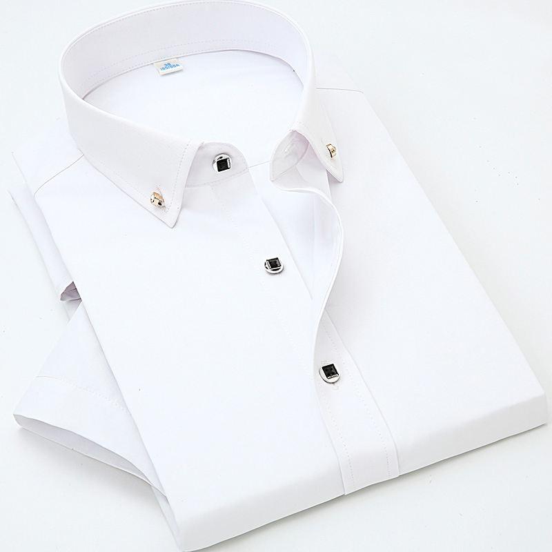 Solid color cotton short sleeve mens dress shirts chemise social slim business shirts