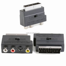 RGB SCART Male to Composite 3 RCA S-Video Audio Cable TV Adapter VCR Euro Connector