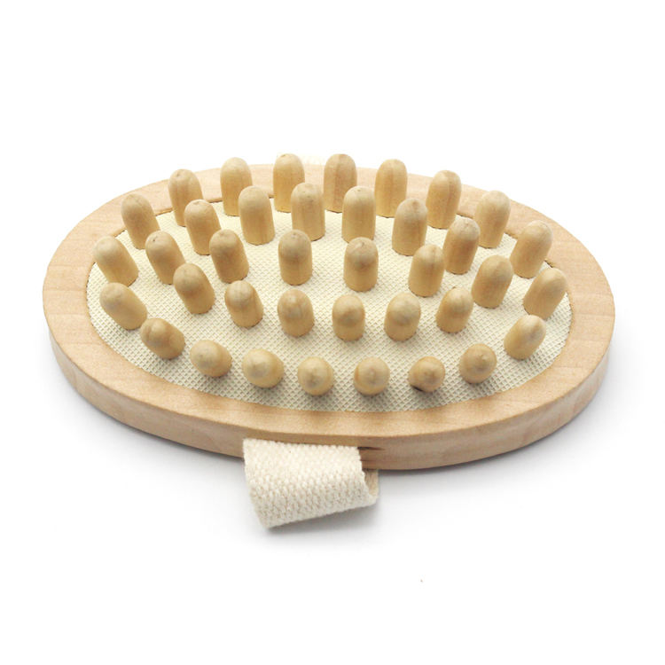 health care grooved bullet natural wooden and strap bath massage brush