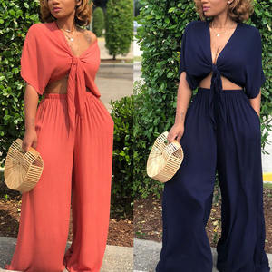 Factory Directly Chest Bowknot Two Piece Set Women Clothing Jumpsuit Latest Design Clothes For Women
