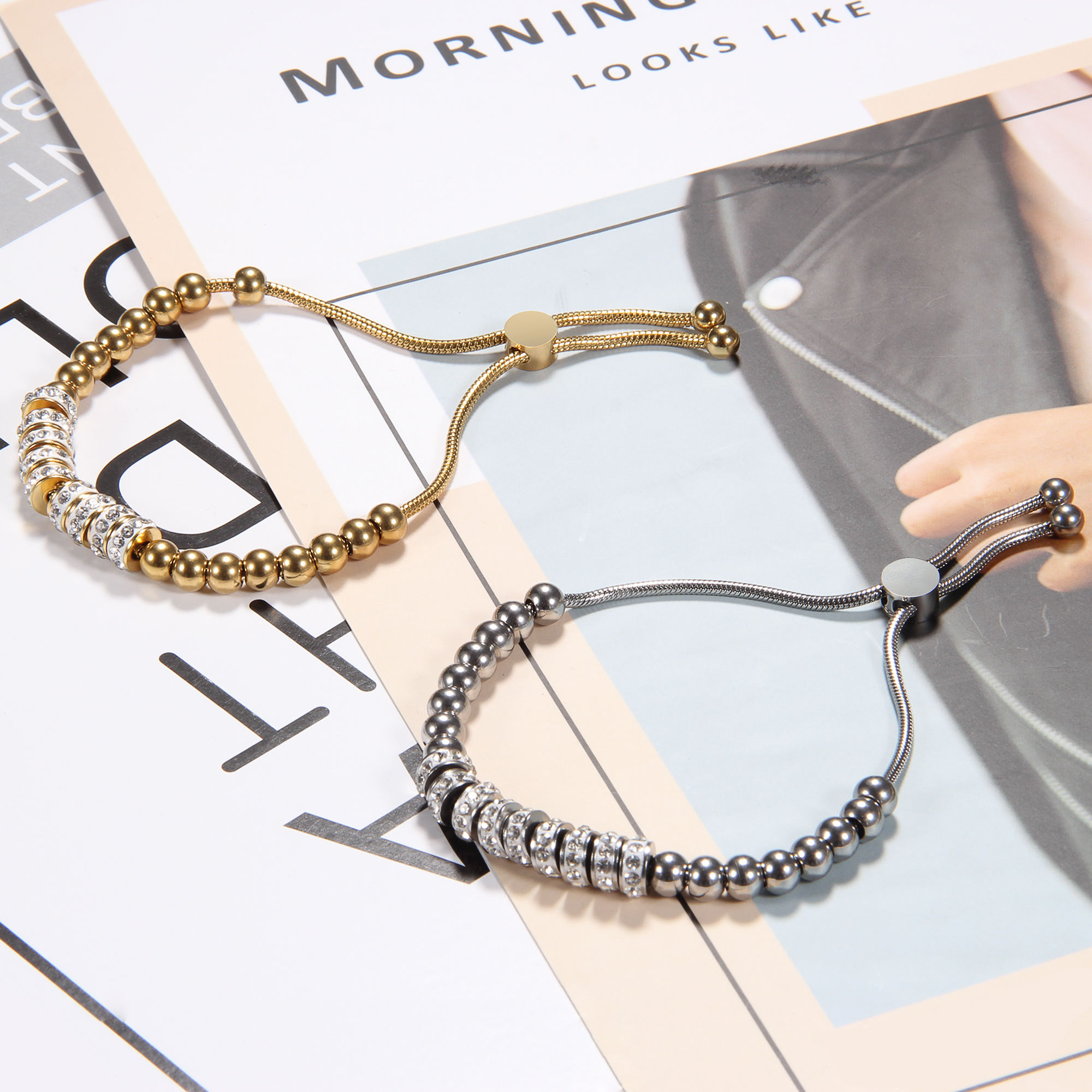Luxury Designer Stainless Steel adjustable clasp Crystal Charms Snake Chain Bracelet for Woman