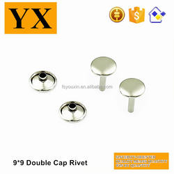 Environmental plating 9mm metal flat double head rivets for jeans