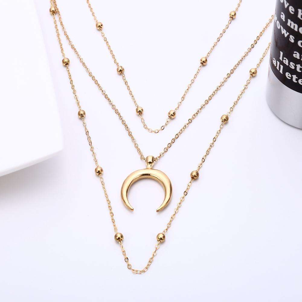 Sterling Silver Plated Three Layers Chain Large Moon Pendant Necklace Silver Tone Moon Pendant Multilayer Necklace for Girls