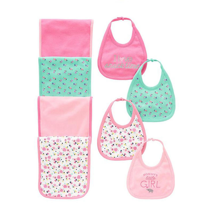 Simple Baby Girls' 8-Pack Burp Cloth and Bib Set