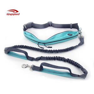 Wholesale Custom Nylon Reflective Bungee Hands Free Jogging Dog Leash With Waterproof Waist Bag