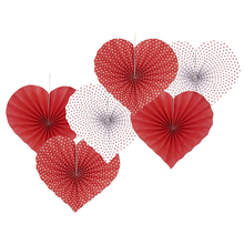 UMISS 6PCS Red Heart Hanging Fans, Wedding Anniversary Bachelorette Bridal Shower Valentines Party Photo Backdrops Decoration