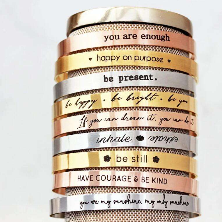 여성 Inspiratinal 보석 Stainless Steel Mantra Custom 커 프 Bangle Personalized Gift 새겨진 Bracelet