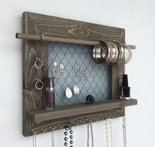 Rustic Wooden Wall Mount Jewelry Organizer for Earrings/Necklaces/Bracelets/Accessories