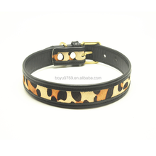 PAITEER Pet supplies Custom real leather leopard print dog collar