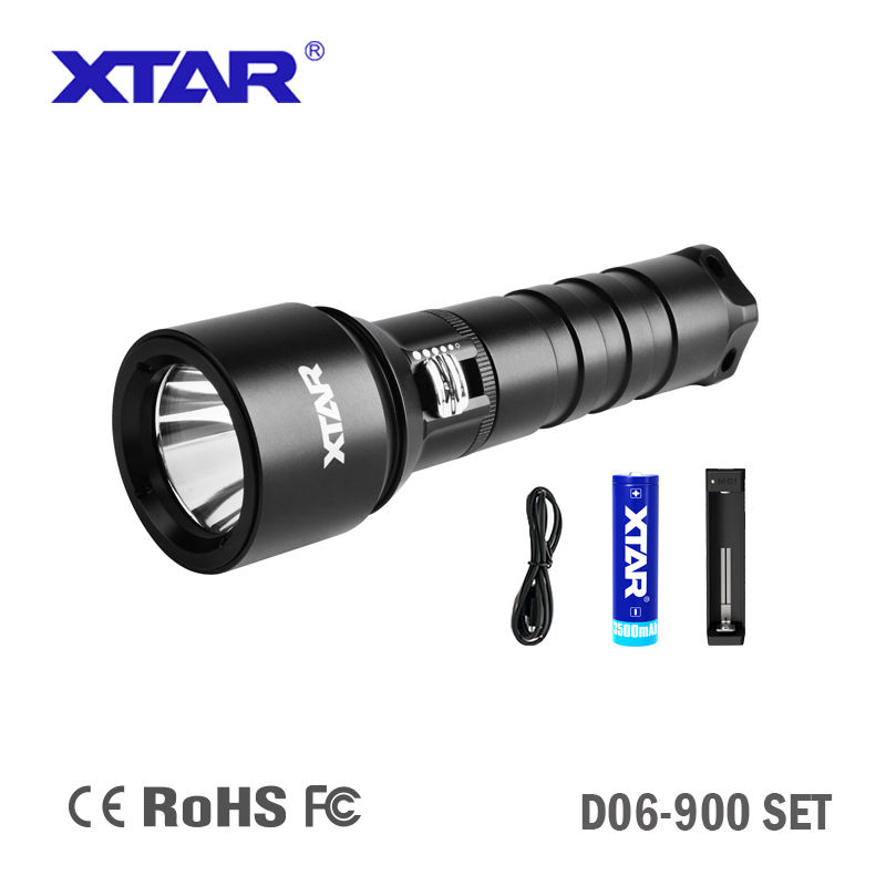 Best seller XTAR D06 900 lumen sliding switch professional Diving Flashlight with 18650 battery and charger
