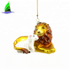 Handmade Christmas Glass Blown Lion Lamb Ornament Craft with Gift Box