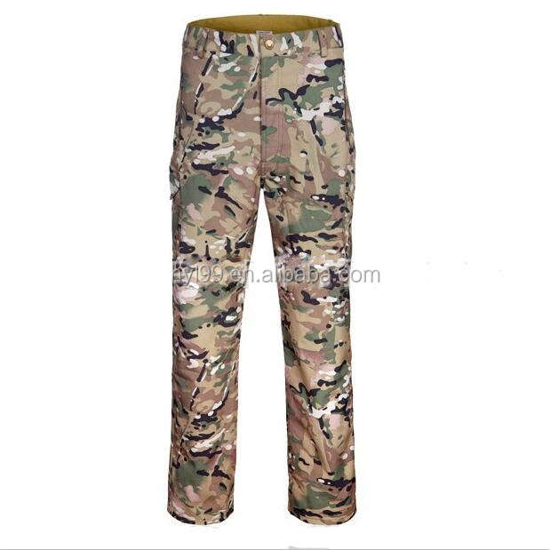 Wholesale waterproof windproof shark skin softshell camo hunting pants